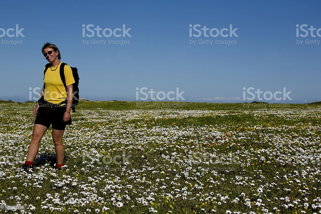 Woman hikes through a field of white flowers royalty-free stock photo