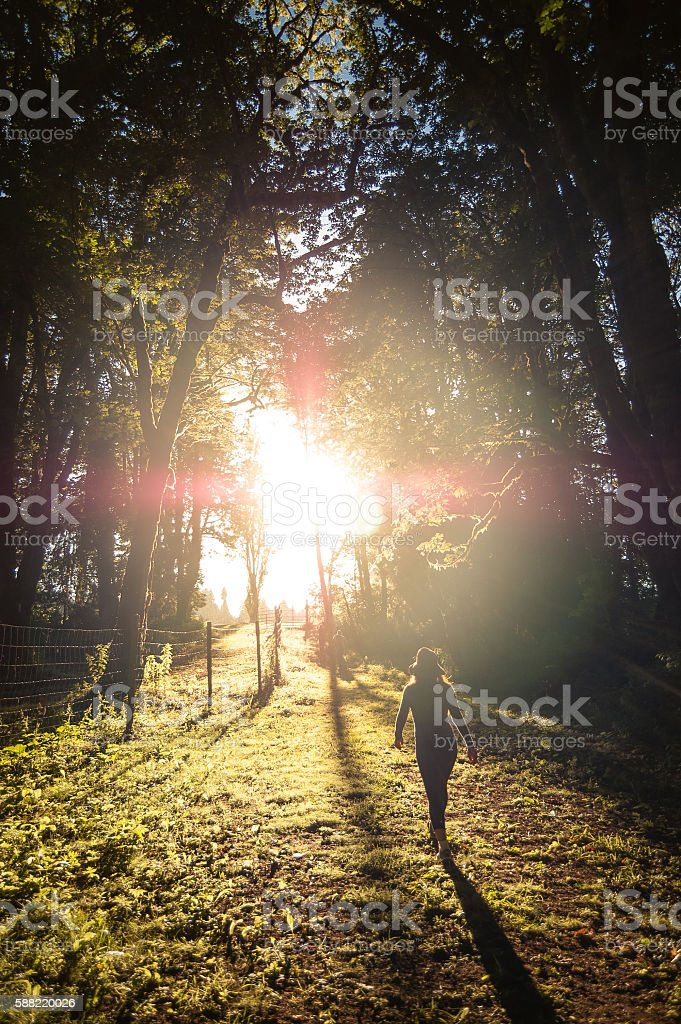 Woman hiking along an Oregon forest trail at sunset stock photo