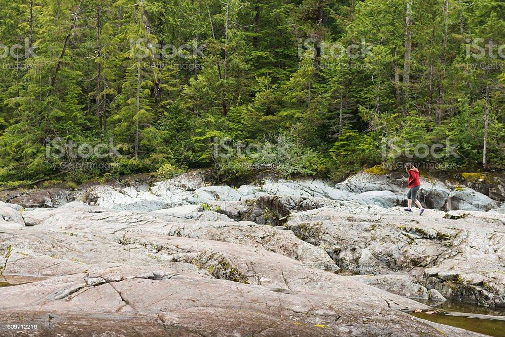 Woman Hiking Beautiful Landscape Vancouver Island Canada stock photo
