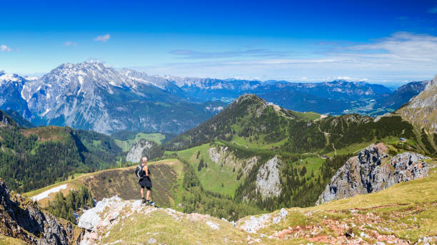 Woman Hiking, Berchtesgaden Mountains National Park, Germany stock photo