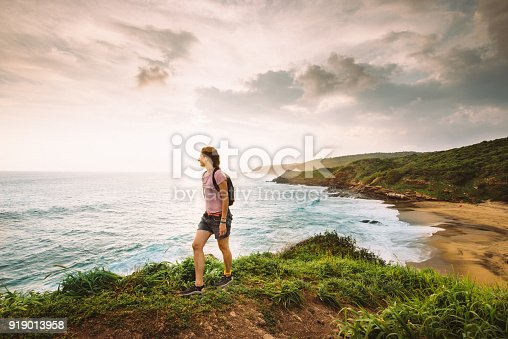 istock Woman Hiking by the Beach in Oaxaca in Mexico 919013958