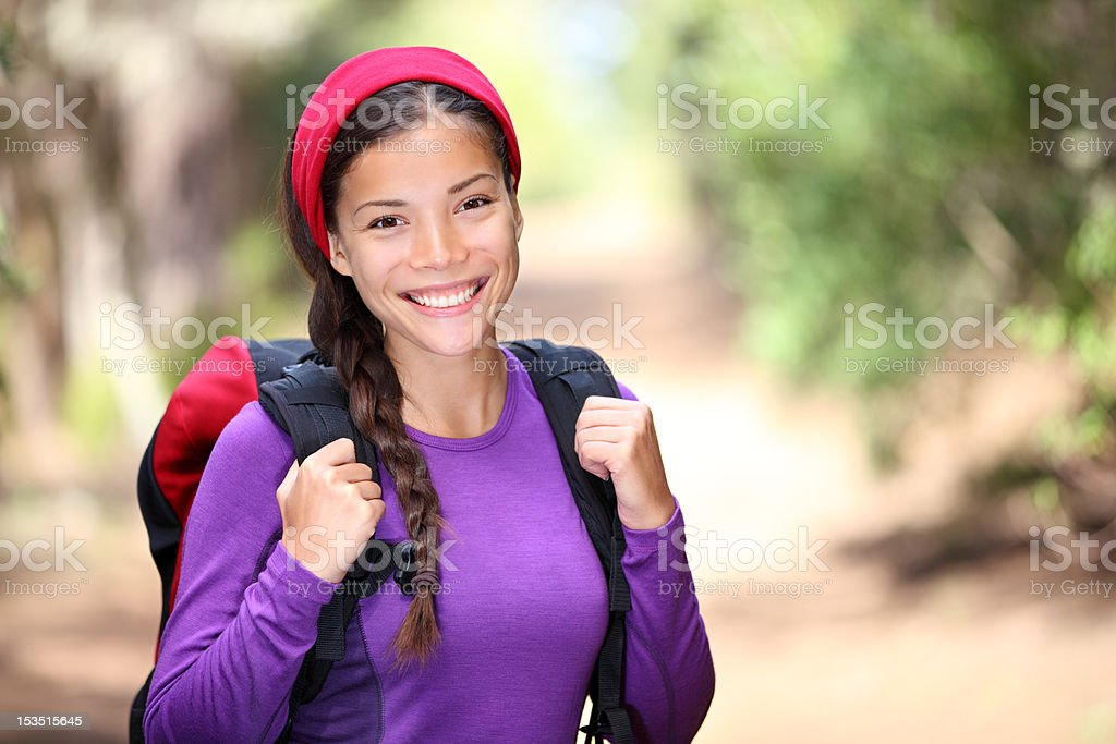 woman hiking in forest royalty-free stock photo