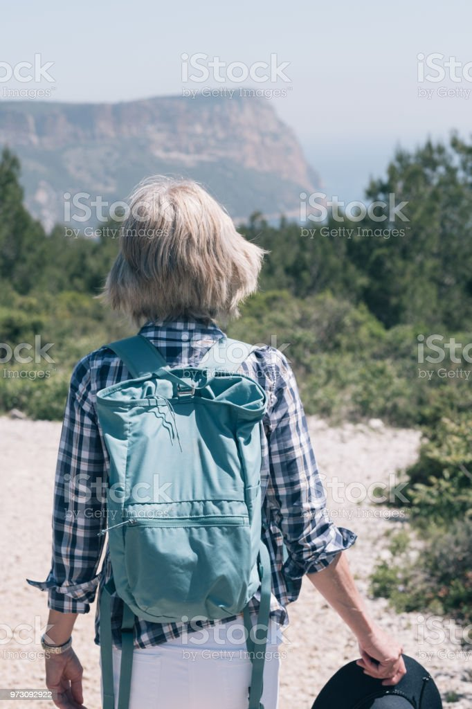 Woman Hiking In Hot Weather Provence France Stock Photo - Download