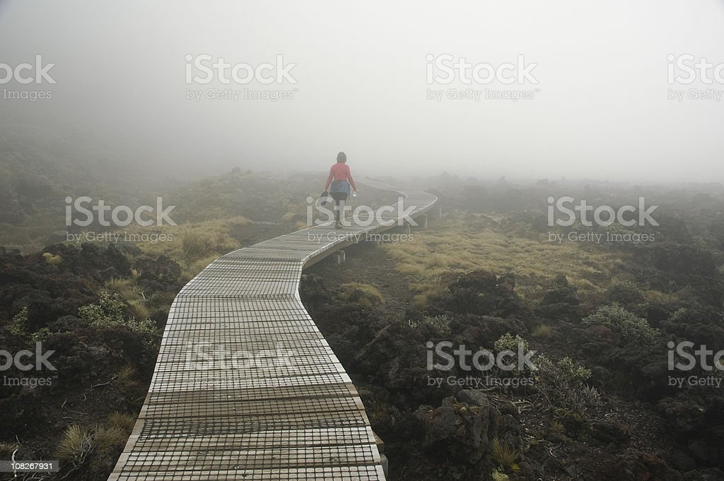Woman Hiking in NZ, New Zealand. royalty-free stock photo