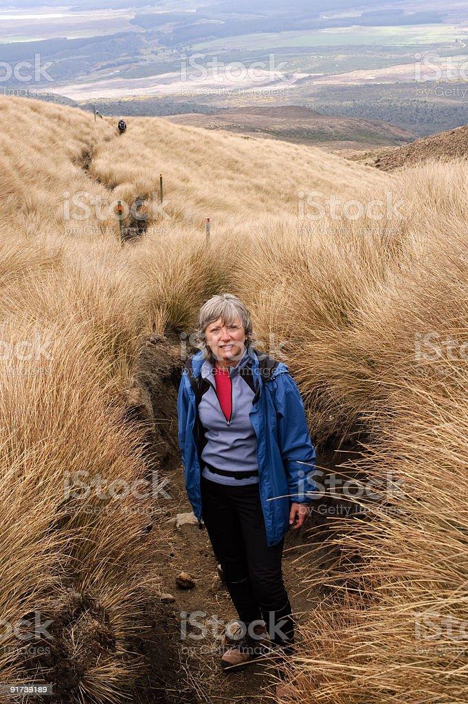 Woman Hiking in Tongariro National Park, New Zealand royalty-free stock photo