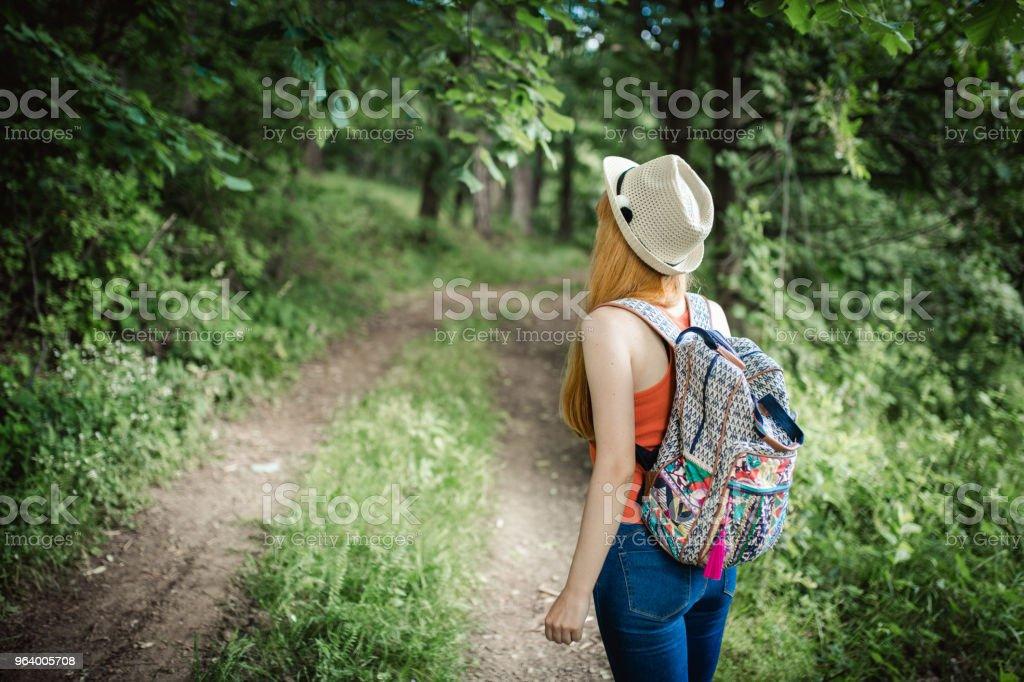 女性の森ハイキング - 20代のロイヤリティフリーストックフォト