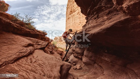 Woman hiking near Canyonlands, Moab