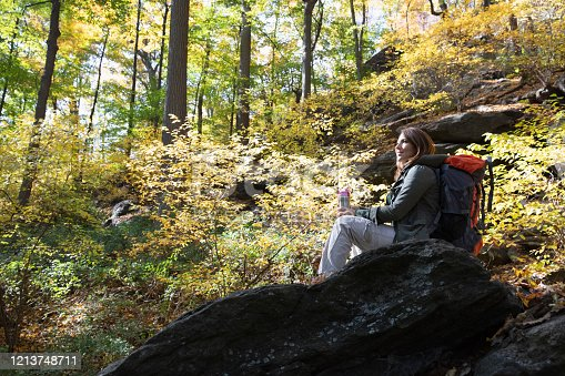 Woman hiking outside in nature