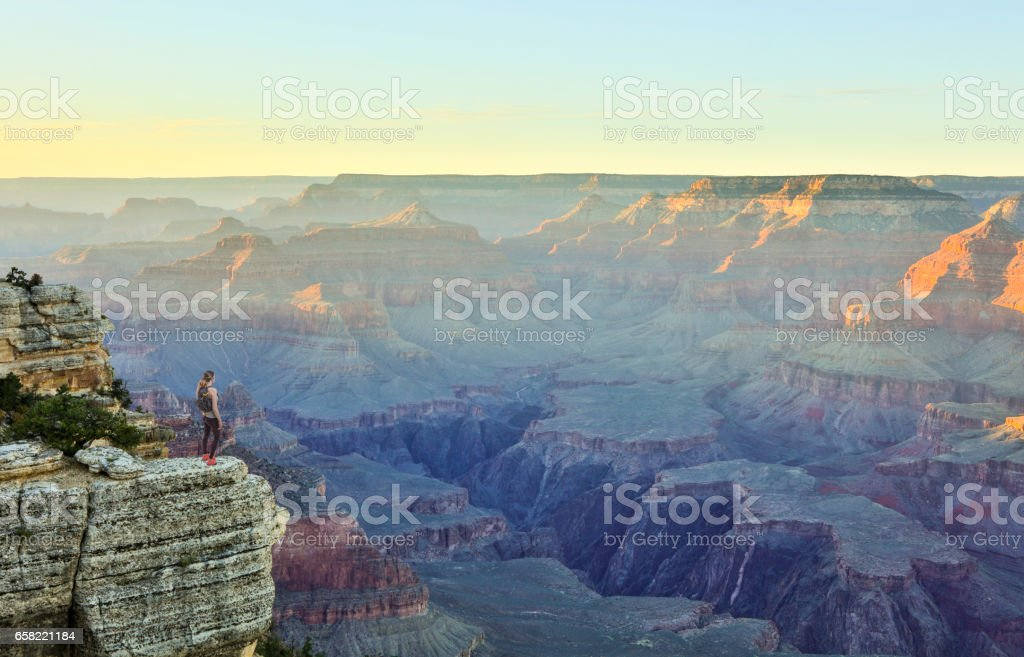 Woman Hiking South Rim Grand Canyon HDR photo stock photo