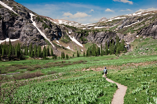 Woman Hiking to Upper Ice Lakes Basin