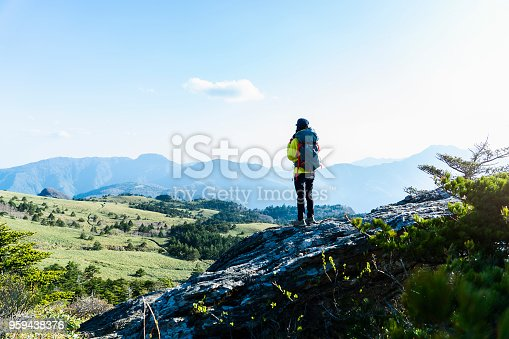 istock A woman hiking with a view from the rock 959438376