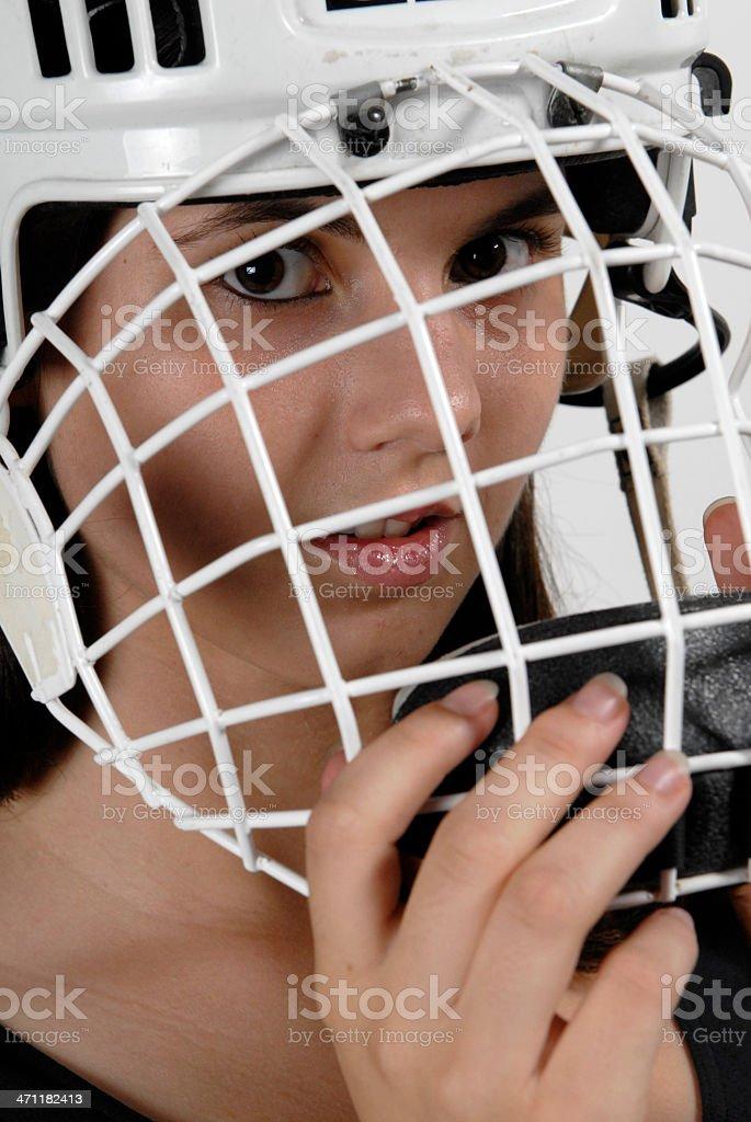 Woman Hockey goalie up close stock photo