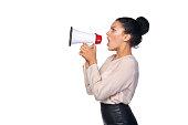 istock Woman hold loudspeaker 500224924