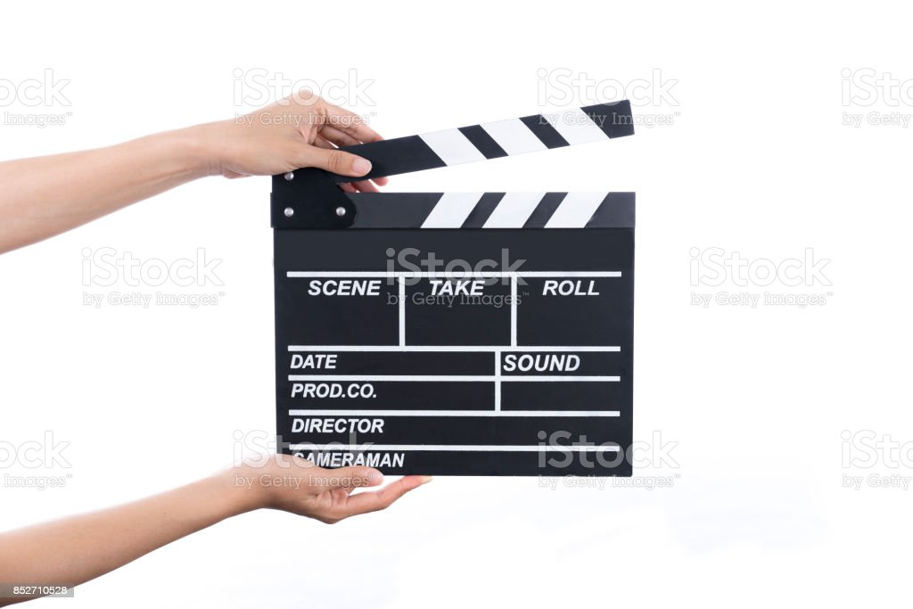 woman hold movie clapper on isolated and white background ; film, cinema and vedio photography concept stock photo