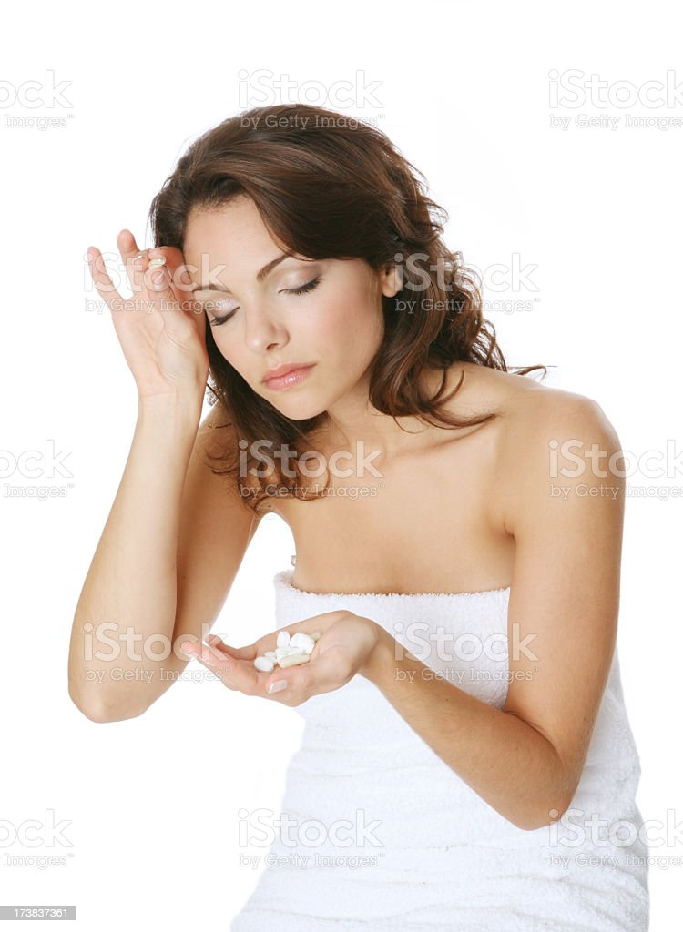Woman hold pills royalty-free stock photo