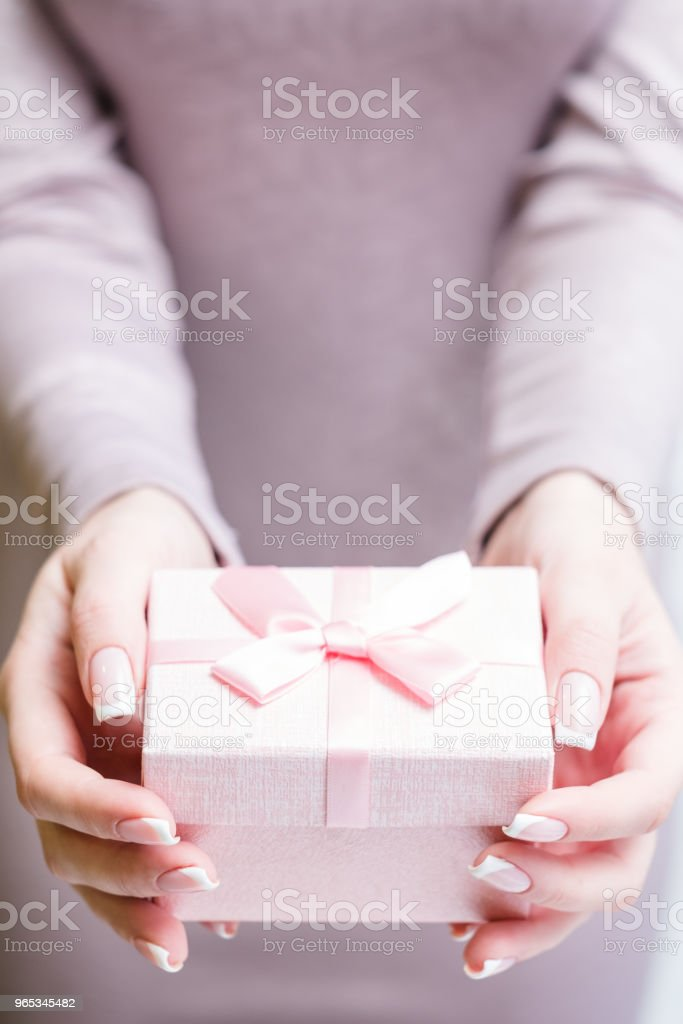 woman hold present gift pink girly mother birthday royalty-free stock photo
