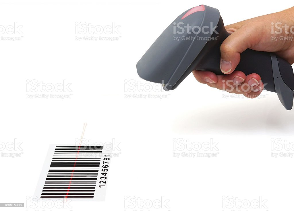 woman hold scanner and scan barcode with laser stock photo