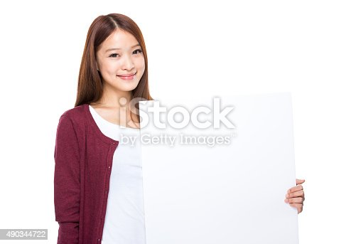 528291188 istock photo Woman hold with white banner 490344722
