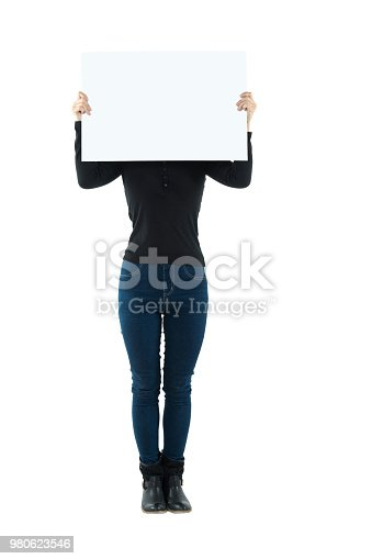 Woman holding a blank board on white background.