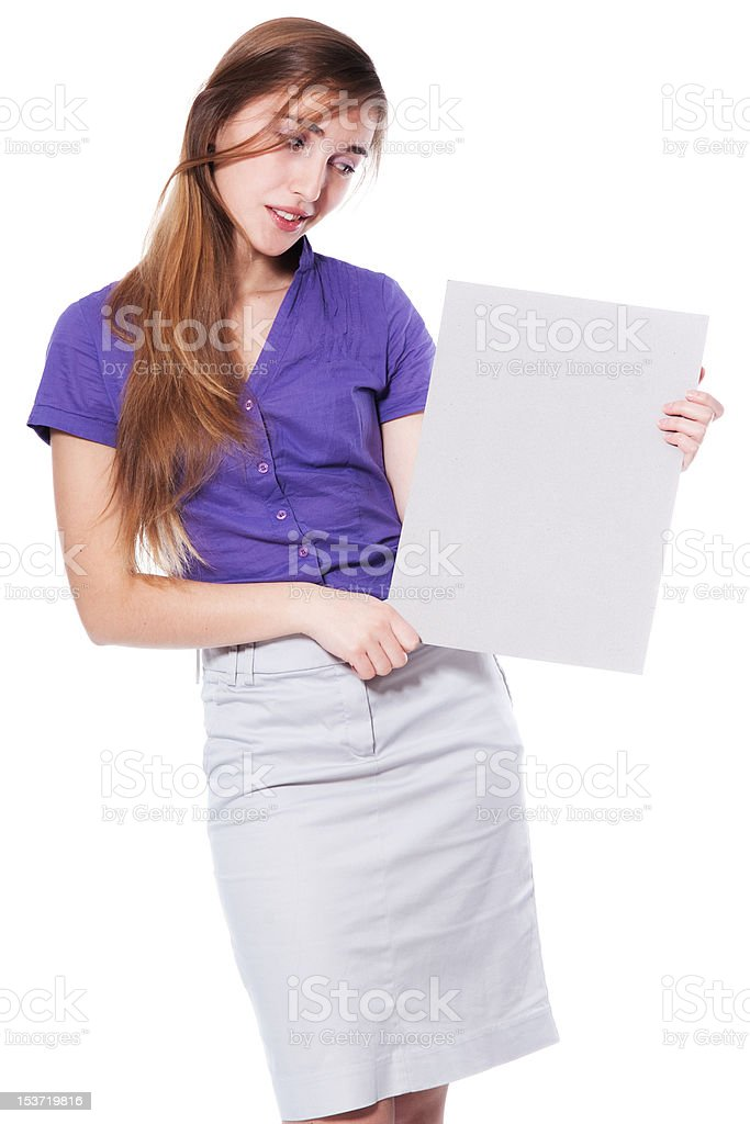 Woman holding a blank page III stock photo