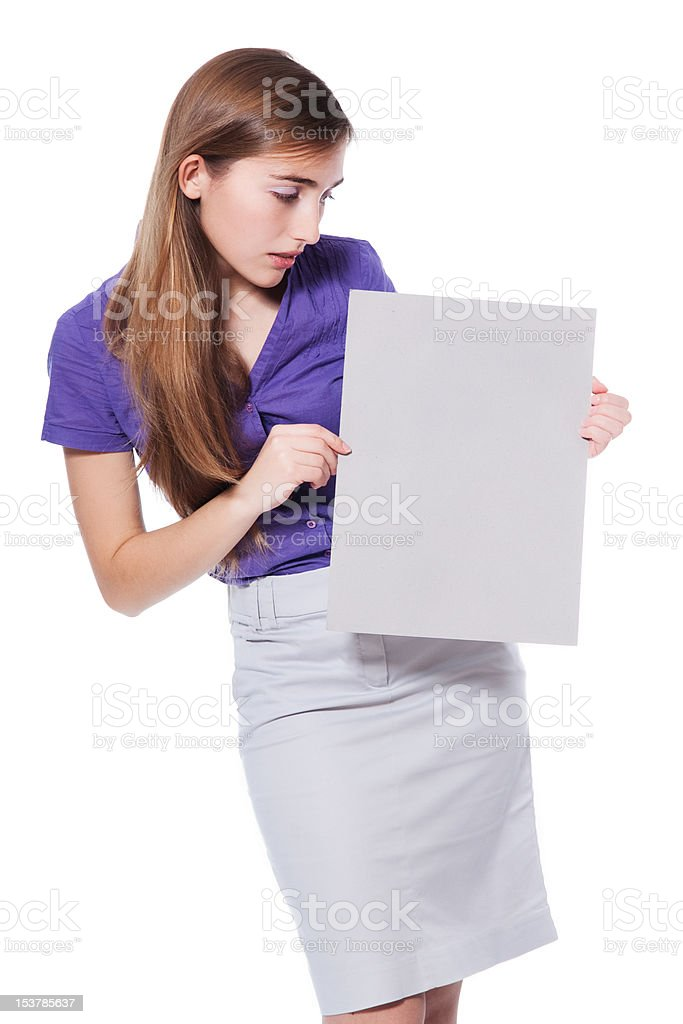 Woman holding a blank page IV stock photo