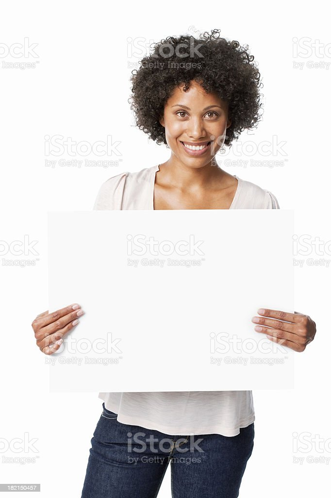 Woman Holding a Blank Sign - Isolated royalty-free stock photo