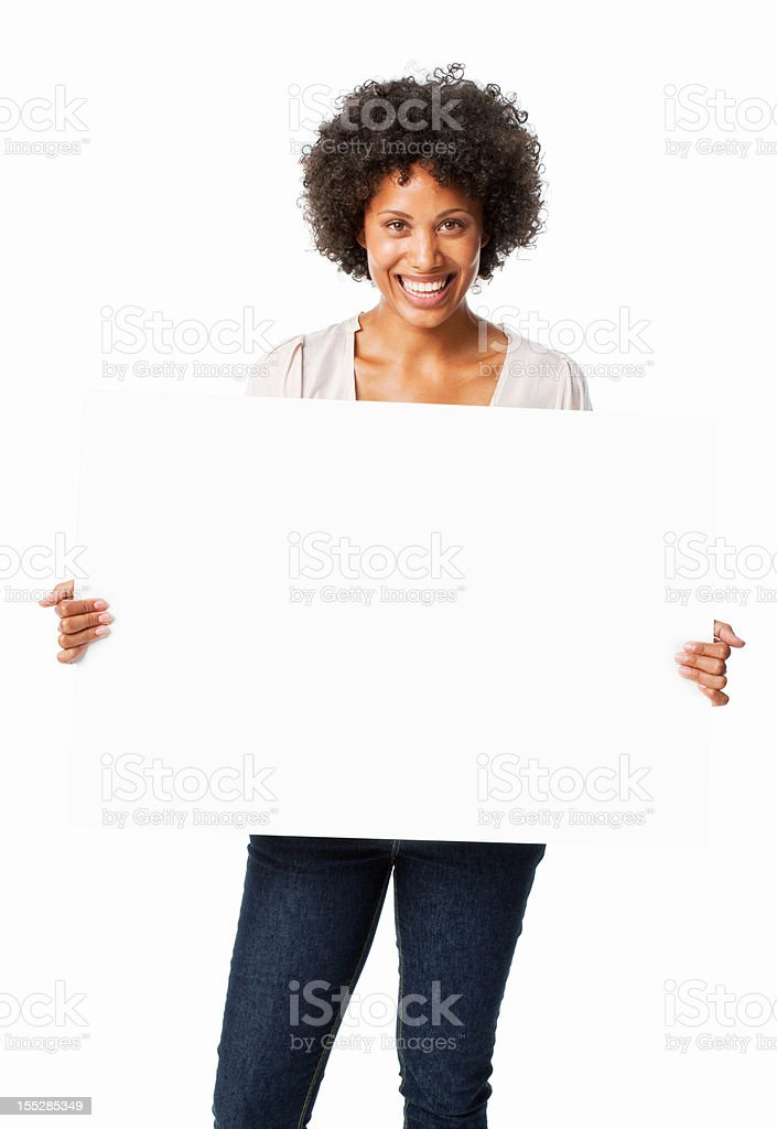 Woman Holding a Blank Sign stock photo