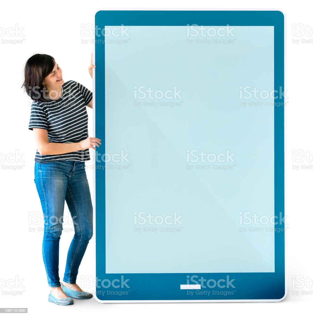 Woman holding a blue tablet mockup stock photo