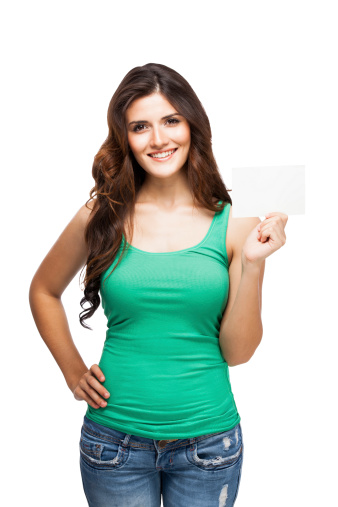 Woman Holding A Business Card Stock Photo - Download Image Now