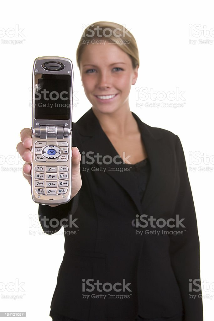 Woman holding a cell phone stock photo