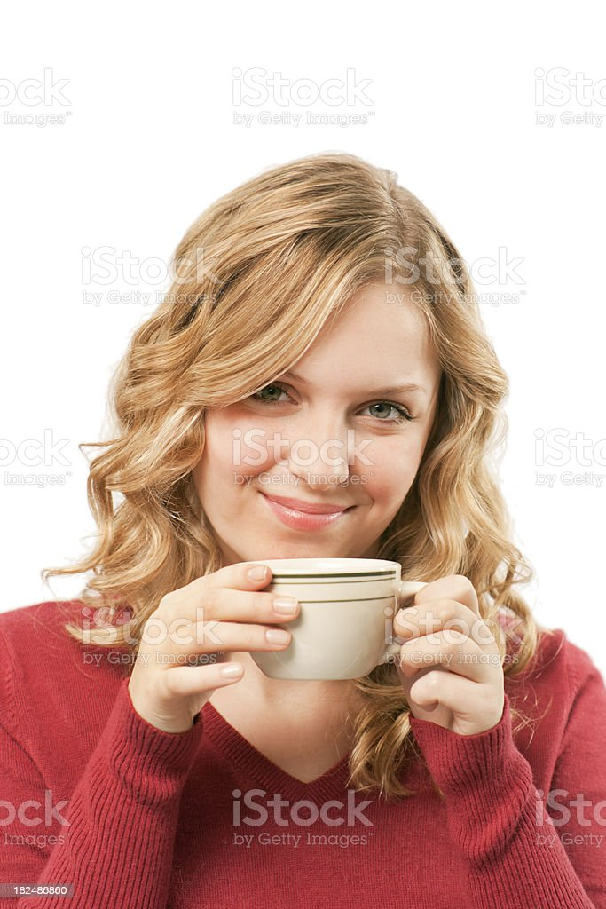 Woman Holding a Cup of Coffee or Hot drink Vt royalty-free stock photo
