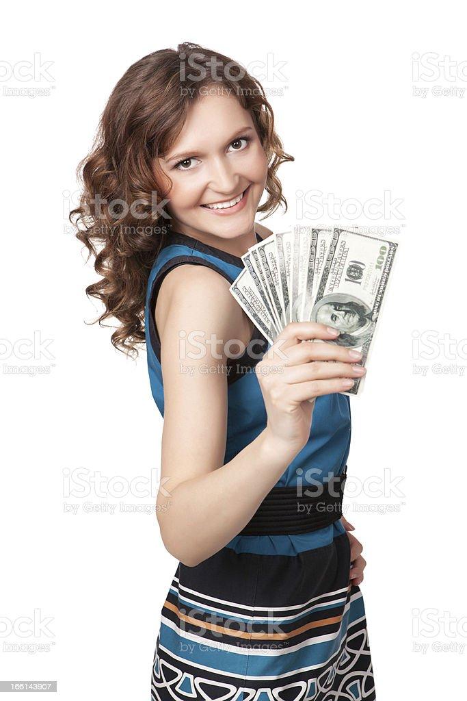woman holding a fan of dollar bills royalty-free stock photo