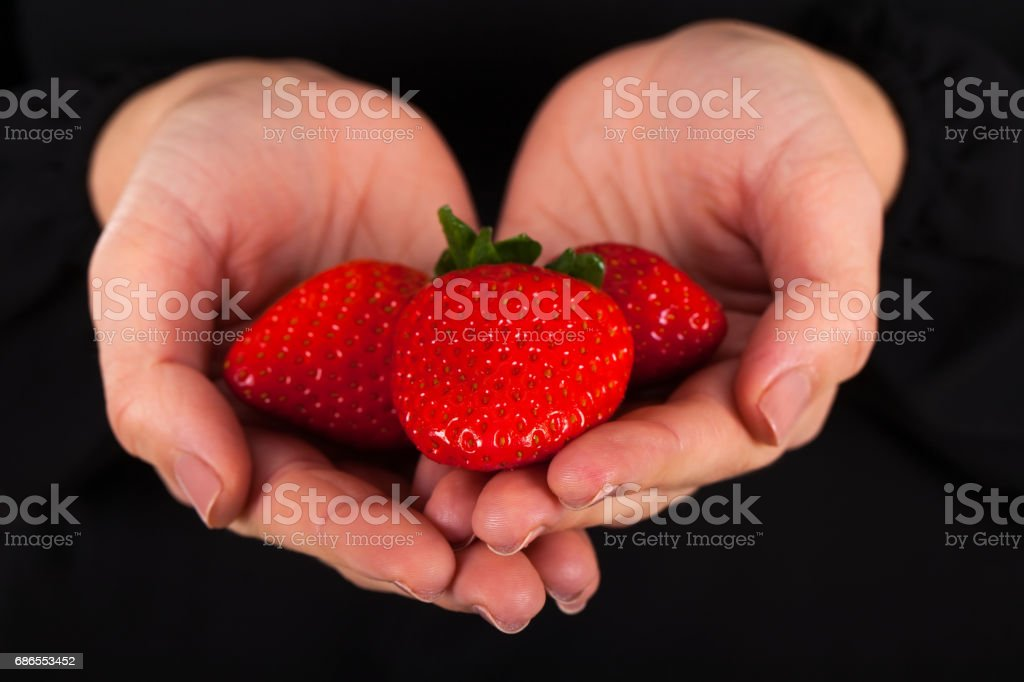 Woman holding a handful of delicious strawberries royalty-free stock photo