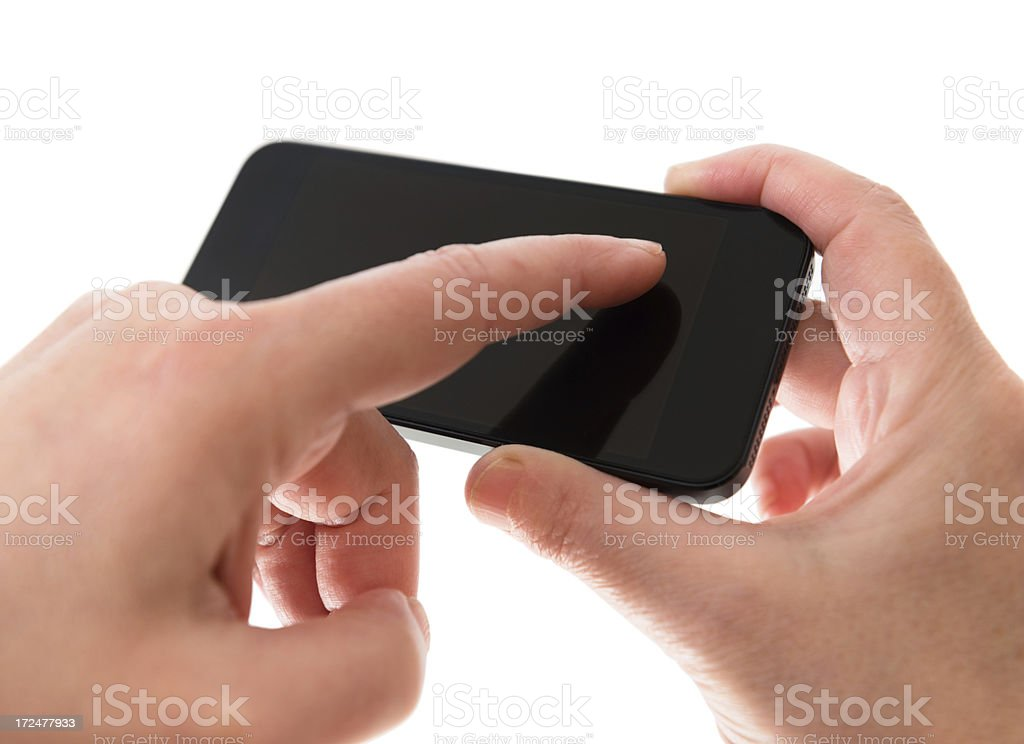 woman holding a new smartphone royalty-free stock photo