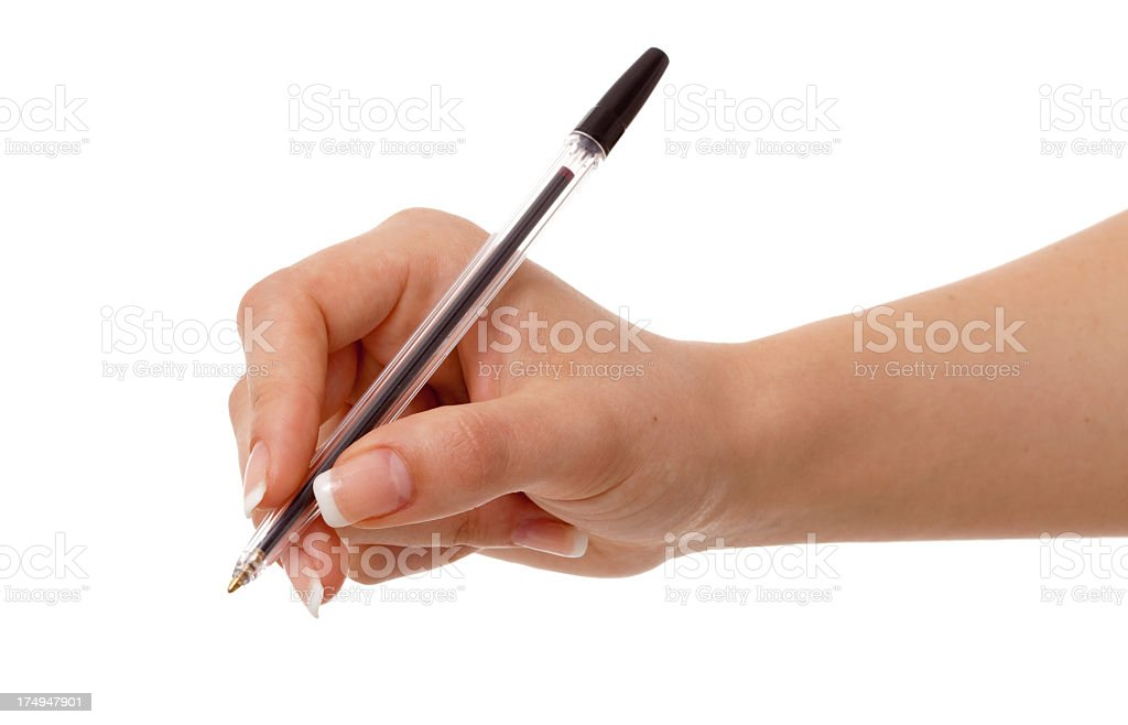 Woman holding a pen on white background. stock photo