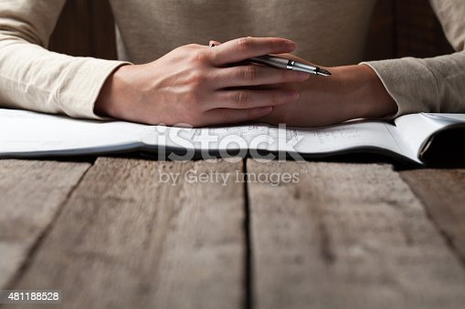 536971177 istock photo woman holding a pen over a house constructing plan 481188528