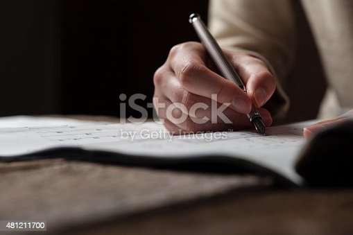 536971177 istock photo woman holding a pen over a house constructing plan 481211700