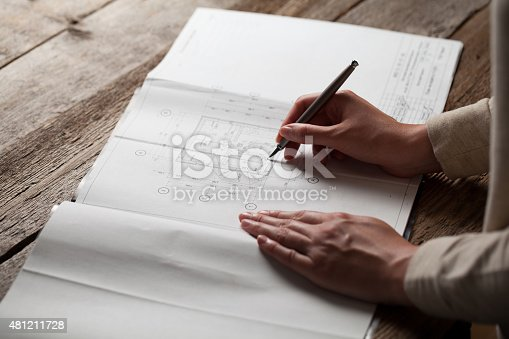 536971177 istock photo woman holding a pen over a house constructing plan 481211728
