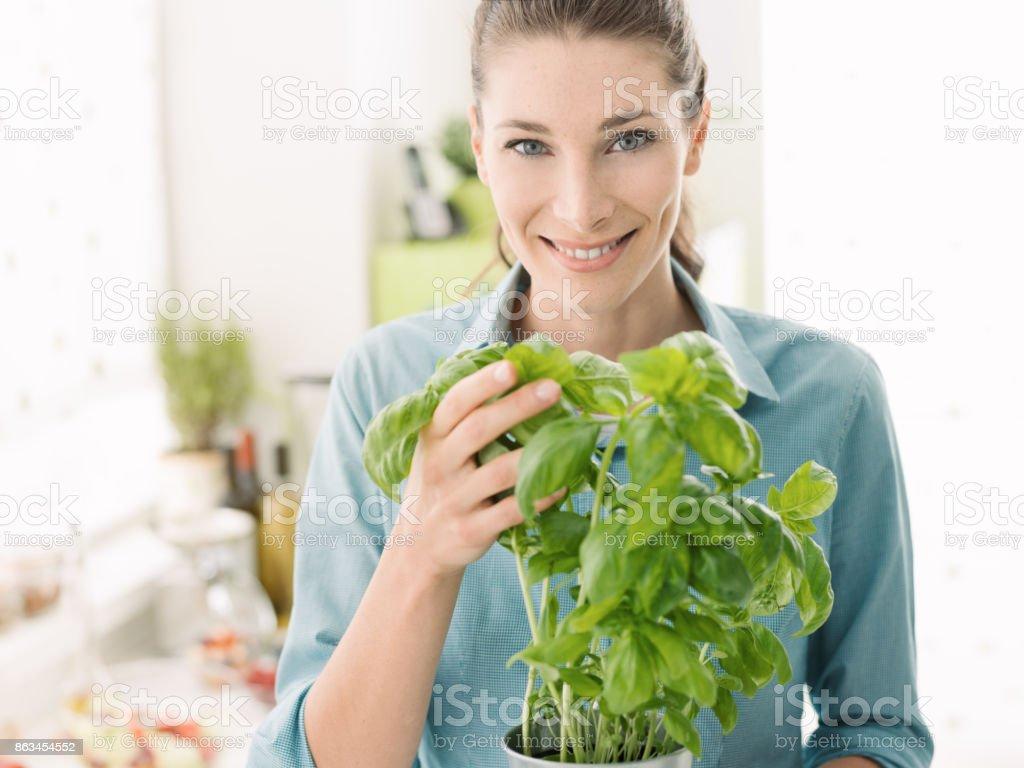 Mulher segurando uma planta de manjericão fresco - foto de acervo