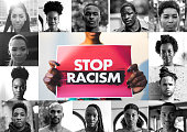 istock Woman holding a red sign against racism and a mix of afro american men and women faces 1241581688