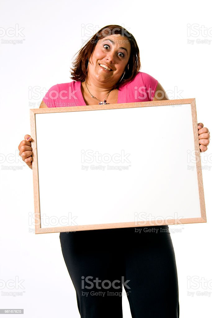Woman holding a white sign royalty-free stock photo