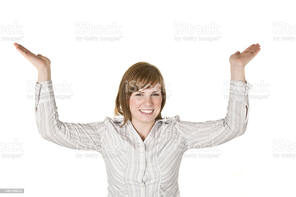 Woman holding above her head royalty-free stock photo
