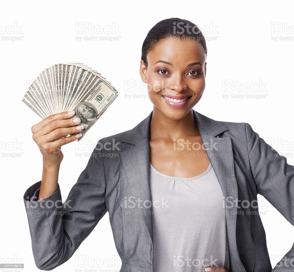 Woman Holding American Currency - Isolated stock photo