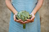 woman holding an Artichoke