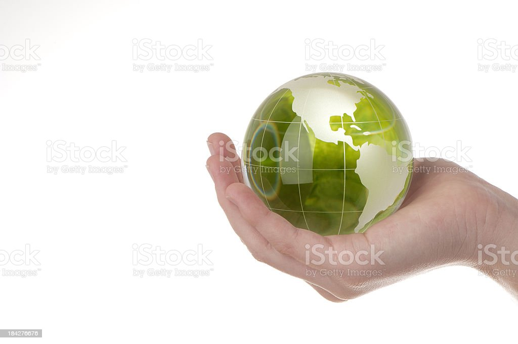 Woman holding an earth globe royalty-free stock photo