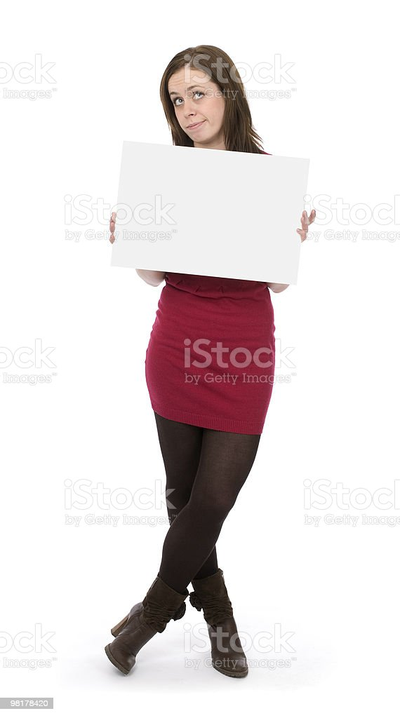 woman holding an empty billboard royalty-free stock photo