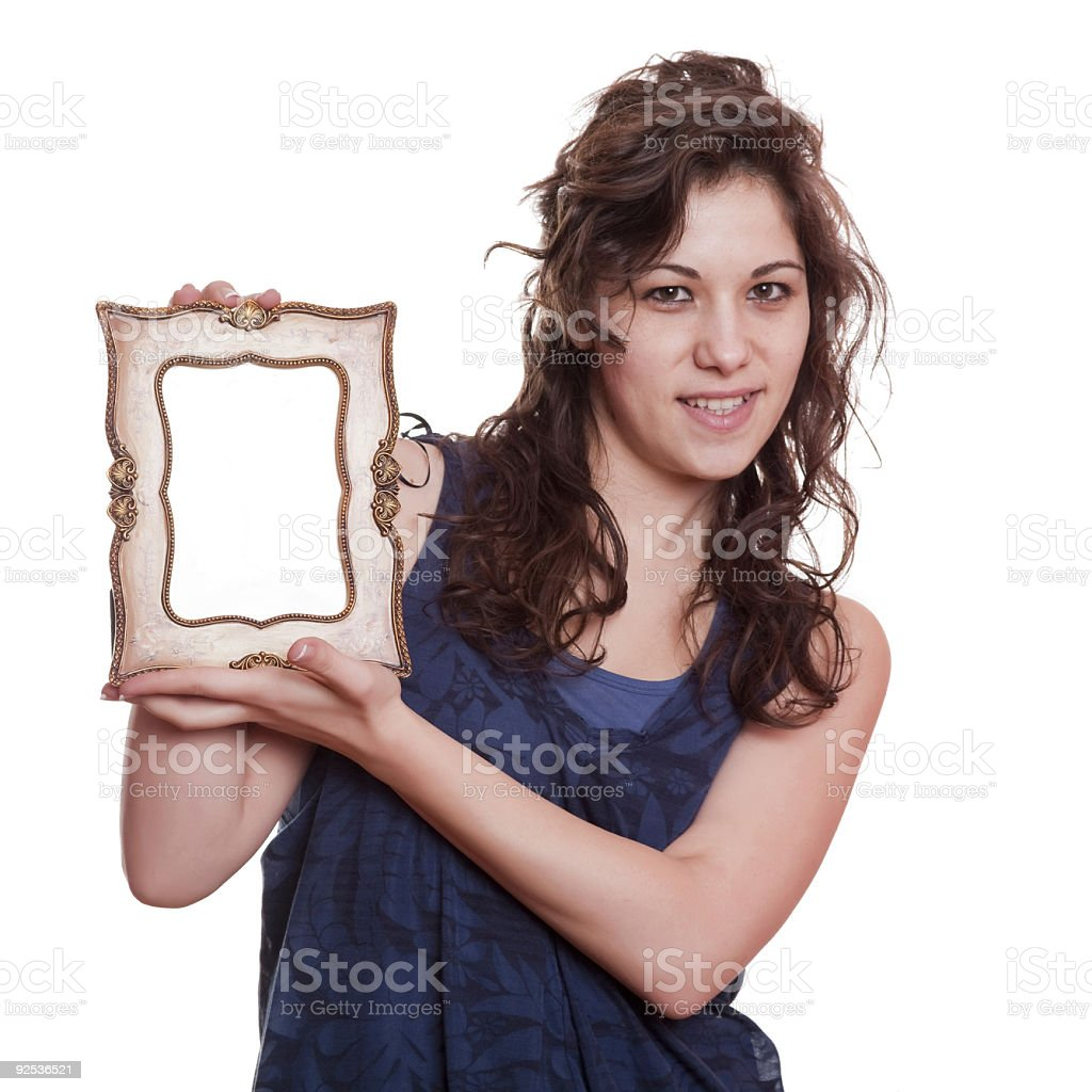 woman holding an picture frame stock photo
