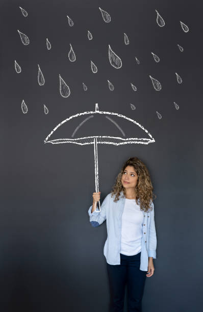 Woman holding an umbrella under the rain Illustration of a beautiful woman holding an umbrella under the rain blackboard visual aid stock pictures, royalty-free photos & images
