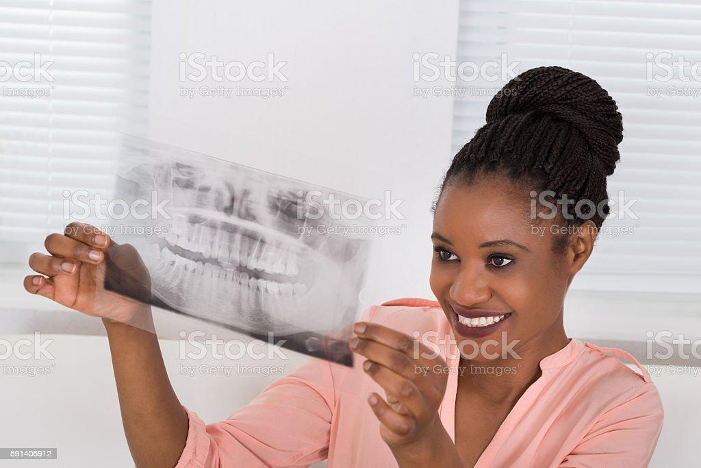 Woman Holding An Xray stock photo