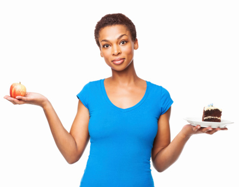 Woman Holding Apple And Cake - Isolated